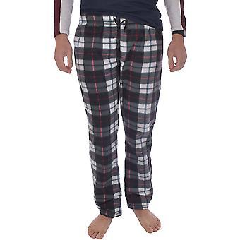Brave Soul Mens Alfie Full length Fleece Tartan Pyjama Bottom - Black/White/Blue