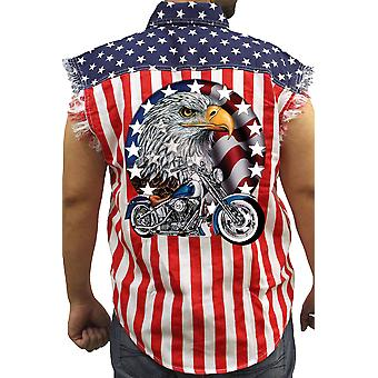 Men's USA Flag Sleeveless Denim Shirt Red White & Bold Eagle Biker