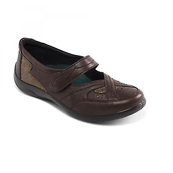 Padders Cello Ladies Leather Extra Wide (2e/3e) Mary Jane Shoes Brown