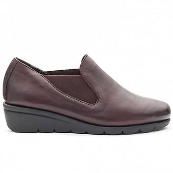 Padders Dawn Ladies Leather Wide (e Fit) Shoes Wine