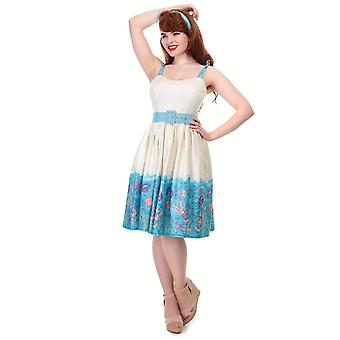 Collectif Vintage Women's Jade Seashell Border Swing Dress