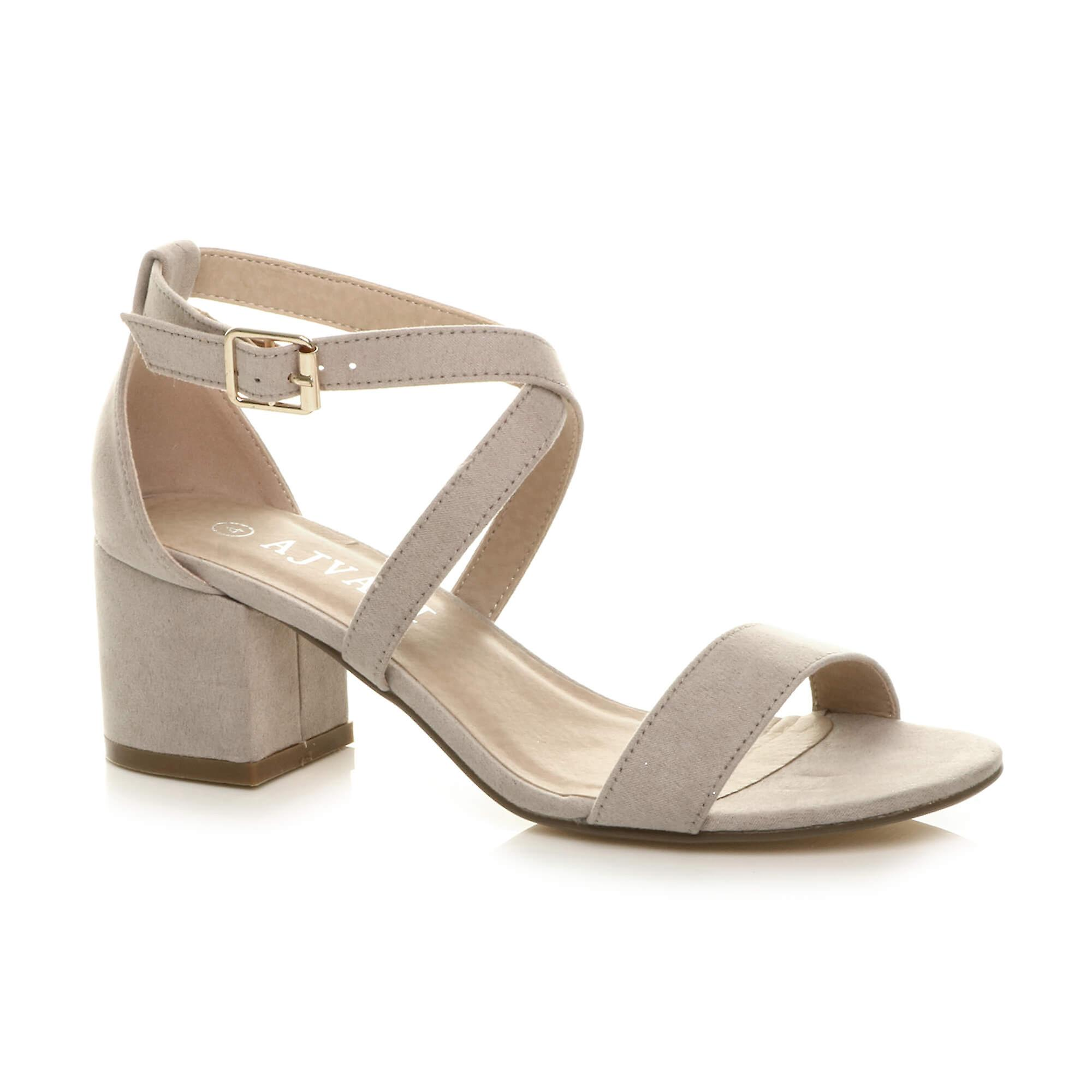 Ajvani womens mid low block heel peep toe ankle strap strappy party sandals HVAdh