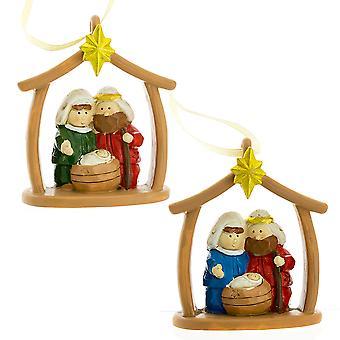 Christian Nativity Scene Resin Christmas Bauble Ornament