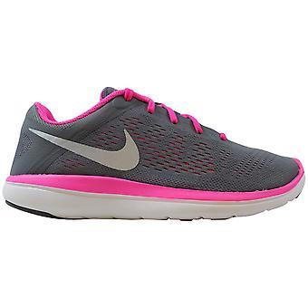 Nike Flex 2016 RN Clay Gray/Metallic Silver-Black-Pink Blast 834281-006 Grade-School