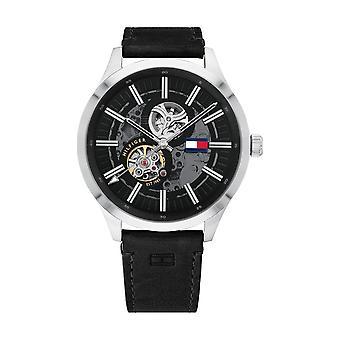 Tommy Hilfiger Watch 1791641-mech-automatisk sak rund stål svart dial og grå menns svart skinn armbånd