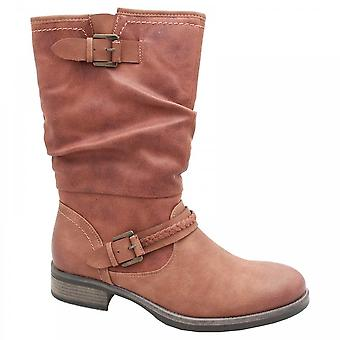 Rieker Mid-calf Tan Boot With Buckle Detail