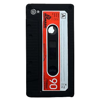 For iPhone 4/4S Case,Retro Cassette Tape Pattern Durable Shielding Cover,Black