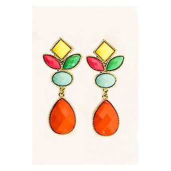 coloured Cluster Drop Earrings