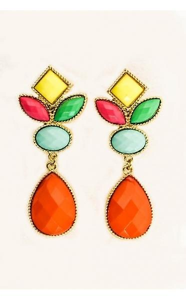 coloured Cluster Drop Earrings