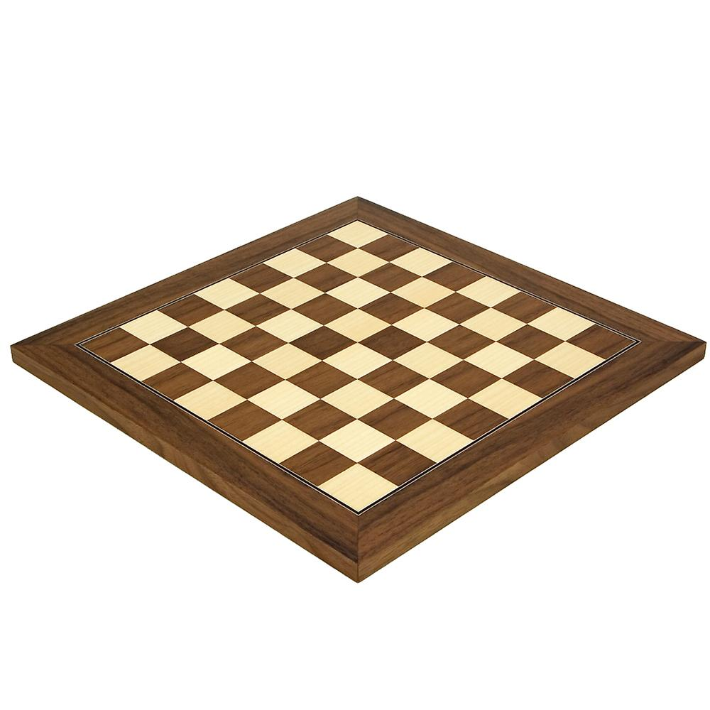 13.75 Inch Walnut and Maple Deluxe Chess Board