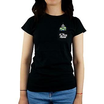 Toy Story Alien The Claw Pizza Plant Pocket Front Disney Ladies Black T-Shirt