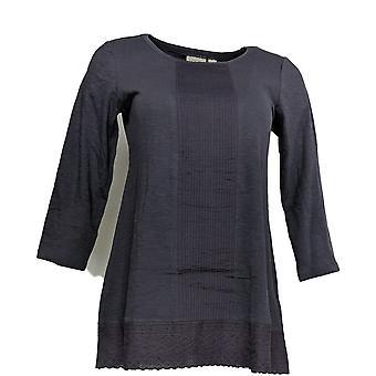 LOGOTIPO por Lori Goldstein Women's Top (XXS) Knit W/Eyelet Hem Purple A303604