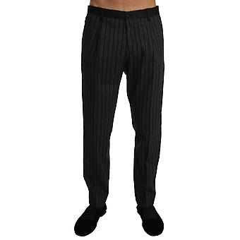 Dolce & Gabbana Gray Wool Black Stripe Regular Trousers Pant