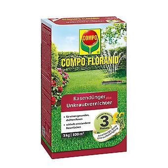COMPO Floranid® الأسمدة العشب بالإضافة إلى قاتل الأعشاب الضارة، 3 كجم