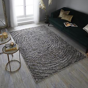 Eris Ursa Moderne Spiral Ek Statement Teppiche in Gold und Grau