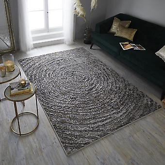 Eris Ursa Modern Spiral Declaración Rugs in Gold and Grey