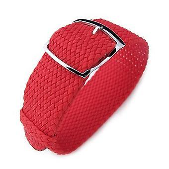 Strapcode fabric watch strap 20, 22, 24mm miltat perlon watch strap, red, polished ladder lock slider buckle