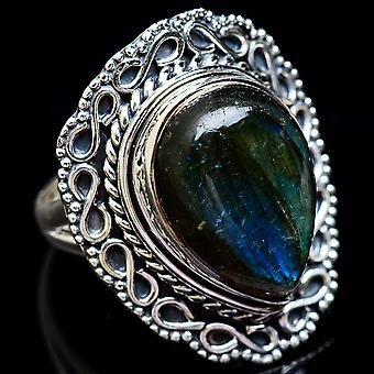 Large Labradorite Ring Size 6.5 (925 Sterling Silver)  - Handmade Boho Vintage Jewelry RING3629