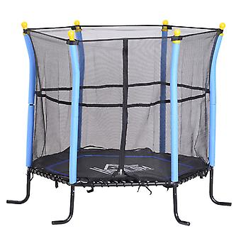 HOMCOM 5FT / 61 Inch Kids Mini Trampoline with Safety Enclosure Net Bungee Design Exercise Rebounder Six Legs Capacity to 60kg Blue