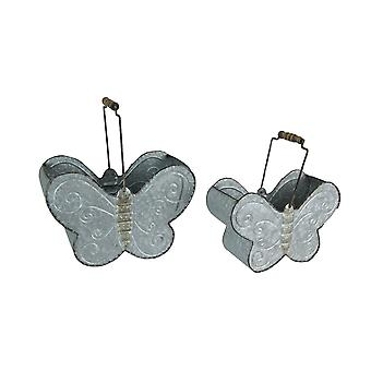 Set of 2 Galvanized Zinc Finished Metal Butterfly Container Baskets / Planters
