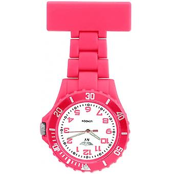 Prince London Rubberised Pink Rotating Bezel Unisex Nurses Fob Watch PI-2030