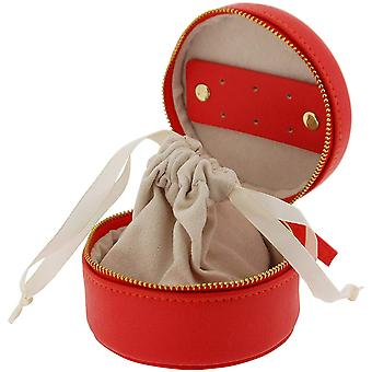 Mele Red Pu Round Small Jewellery Case With Pouch Ideal For travel 5173