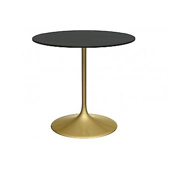 Gillmore Pedestal Medium Dining Table Black Glass And Brass
