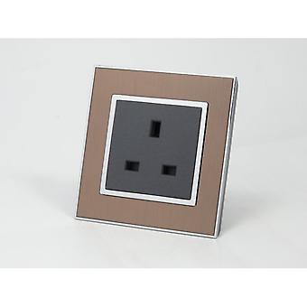 I LumoS AS Luxury Gold Satin Metal Single Unswitched Wall Plug 13A UK Sockets