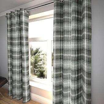McAlister tekstiler Angus tartan sjekk trekull grå gardiner