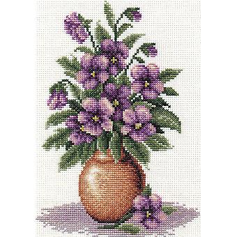 Panna Cross Stitch Kit : Bunch of Pansies