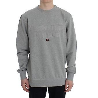 Gray cotton stretch crewneck pullover-sweater