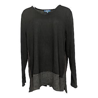 Kelly By Clinton Kelly Women's Top Knit W/ Faux Suede Trim Black A283415