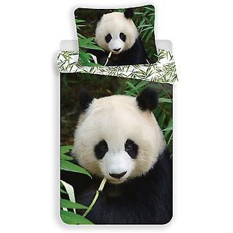 Panda Single Cotton Edredón Cubierta y Funda almohada - Tamaño europeo