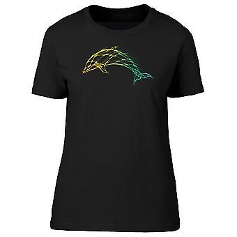 Dolphin kunst grønne linjer Tee kvinder-billede af Shutterstock