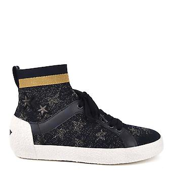 Ash Footwear Ninja Star Navy Knit With Star Print Trainers