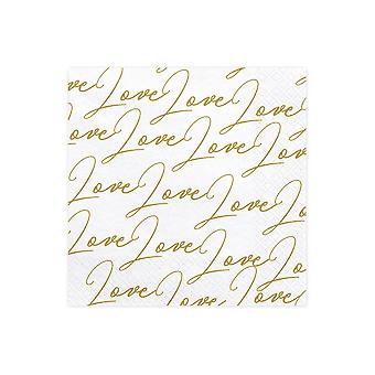 Love Paper Party Napkins x 20 Wedding Anniversary Gold and White