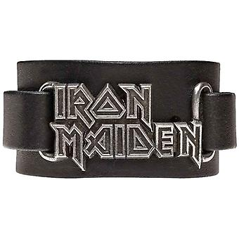 Iron Maiden Wristband classic band Logo new Official Alchemy Black Leather