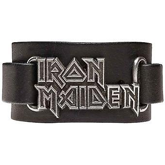 Iron Maidenin ranneke classic yhtyeen Logo uusi virallinen Alchemy musta nahka