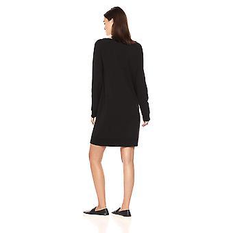 Marke - tägliche Ritual Frauen's Terry Baumwolle und Modal Dorito High-Low Sweatshirt Kleid, schwarz, Medium