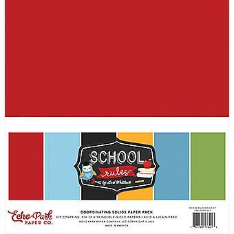 Echo Park Schoolin säännöt 12x12 Tuuman koordinoiva kiinteä paperipakkaus