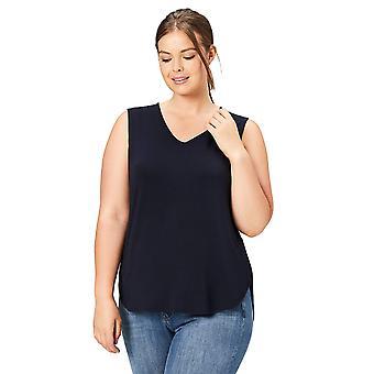 طقوس يومية Women & apos;s Plus Size Jersey V-Neck Tank Top, Navy, 2X
