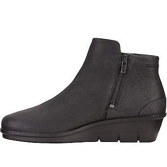 Ecco Womens Skyler Couro Casual Moda Deslizamento em Sapatos botas de tornozelo - Preto