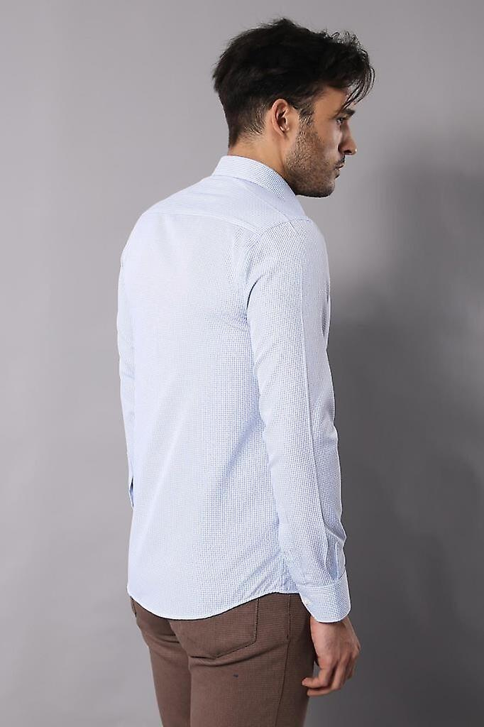 White slimfit shirt with self patterned | wessi