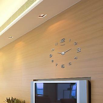 Grande orologio da parete decorativo 3d diy lussuoso silenzioso e moderno decorazioni per la casa specchio superficie