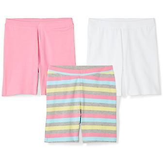 Brand - Spotted Zebra Girls' Big Kid 3-Pack Bike Shorts, Multi-Stripe,...