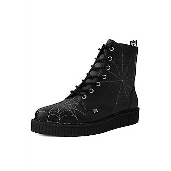 TUK Shoes 7-Eye Black Spiders Web Pointed Creeper Boot