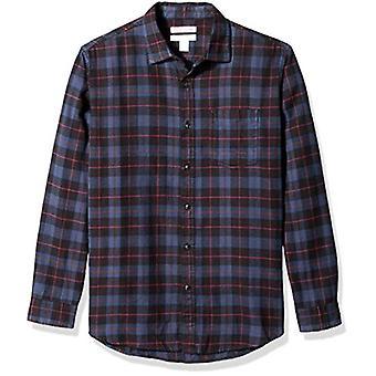 أساسيات الرجال & apos;ق العادية تناسب طويلة الأكمام قميص الفانيلا منقوشة, الأزرق / بلا ...