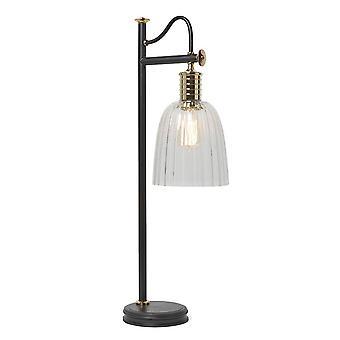 1 Leuchttischlampe Poliertes Messing, Schwarz, E27