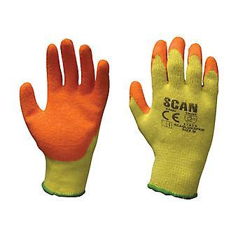 Scan Knit Shell Latex Palm Käsineet Oranssi Yksi koko (12 kpl) SCAGLOKSPK12
