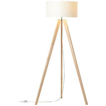 BRILLANTE Lámpara de soporte de galance 1flg luz de madera / luces interiores blancas, lámparas de pie, tres patas - 1x A60, E27, 40W, adecuado para